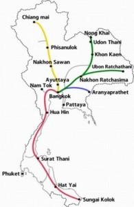 Het spoorwegnetwerk van Thailand heeft 4 hoofdlijnen.