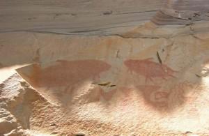 Interessante prehistorische rotsschilderingen in Pha Taem National Park.