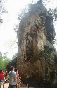 Railay is bij vele bergbeklimmers een bekende plek.