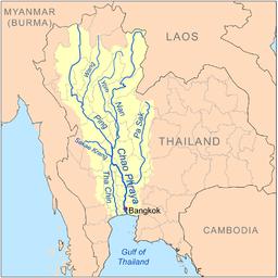 Grote watermassa's komen via de rivieren vanuit noord Thailand richting Bangkok.