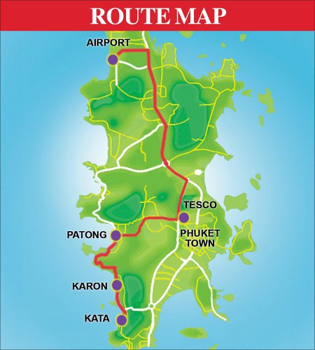 Map bus route Phuket International Airport - populaire stranden.