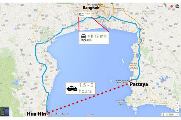 De veerboot zal de reistijd tussen Pattaya en Hua Hin met tweederde verkorten.